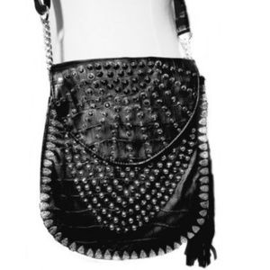 Black Leather Crossbody with Black Swrk.Crystals .